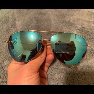 Blue/Gold Reflective Aviator Sunglasses